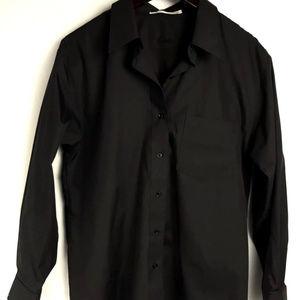 Foxcroft Black Button Down Blouse Size 10 WRINKLE
